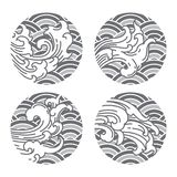 Wave Japanese oriental line style and gray wave background. Thai. Chinese. stock illustration