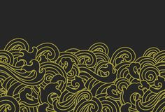 Gold water wave seamless wallpaper - Oriental styles - Vector. vector illustration