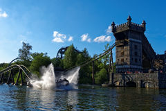 Water coaster ride splash adventure at castle tower Royalty Free Stock Images