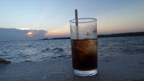 Water on cold water glass under sunset Royalty Free Stock Photos