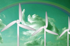 Watercolor Green Energy, Turbine, Rainbow, Clouds. Water color abstract of wind and solar power with turbines, clouds, and a rainbow.  Green Energy concept Stock Photo