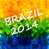 Water Color background with Brazilian flag colors Stock Images