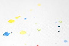 Water Color Background out of White Paper With Yellow And Blue Dot Stock Photo