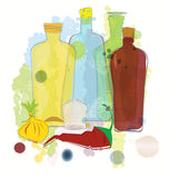 Water color bottles pepper and onion vector Royalty Free Stock Image