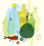 Water color bottles and red pepper vector Royalty Free Stock Images