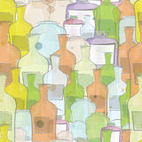 Water color bottles seamless vector Royalty Free Stock Photo