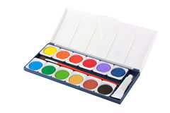 Water color box with brush isolated Stock Photography