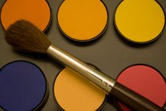 Water color and brush. Water color and paint brush Royalty Free Stock Image