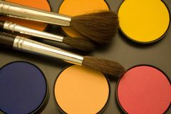 Water color and brushes. Water color and paint brushes Stock Image