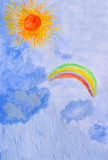 Water color drawing by hand. Sun, rain, rainbow. Royalty Free Stock Photo