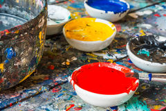 Water color drawing, paints and brushes Royalty Free Stock Photos