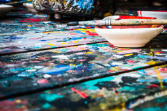 Water color drawing, paints and brushes Stock Photos