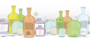 Water color jars border vector Royalty Free Stock Photos