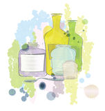 Water color jars and bottles vector Royalty Free Stock Images