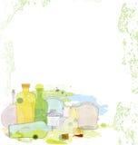 Water color jars copy space Stock Photos