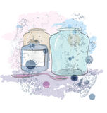 Water color jars and spoon vector Stock Image