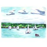Water color landscape with yachts. Water color landscape with sailing yachts in the bay Stock Image