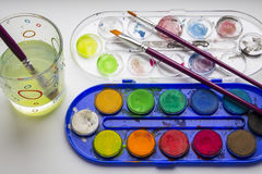 Water-color paint-box Stock Images