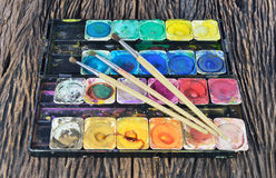 Water color paint box and paint brush Stock Images