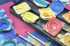 Water color paint box and paintbrush Stock Photography