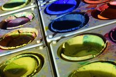 Water color paint boxes Royalty Free Stock Photo