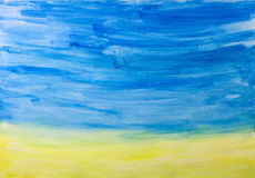 Water color painting. Hand drawn abstract water color  landscape Stock Photography