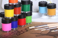 Water Color Painting Equipment. The water color painting tools and equipment Stock Image