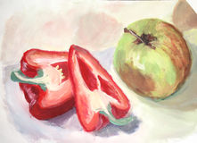 Water color painting: fruits and vegetables Stock Images