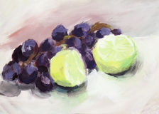 Water color painting: grapes and lime Stock Photography