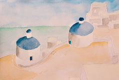 Water Color Painting of a greek mediteranean scenery with blue domes Royalty Free Stock Images