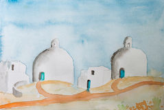 Water Color Painting of a greek mediteranean scenery with domes Royalty Free Stock Images
