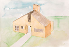 Water Color Painting of a singular individual House with Garden Royalty Free Stock Image