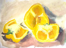 Water color painting: yellow paprika Stock Images