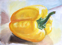Water color painting: yellow paprika Royalty Free Stock Image