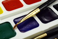 Water color paints for drawing Royalty Free Stock Photos