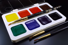 Water color paints for drawing Stock Photography