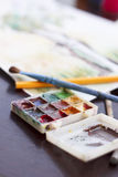 Water color paints. Used for painting Royalty Free Stock Photos