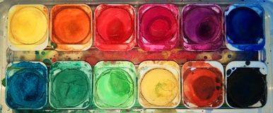 Water color palette. For art and painting like rainbow royalty free stock photos