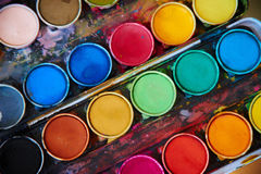 Water color palette. With brush royalty free stock photos