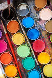 Water color palette. With brush royalty free stock photography