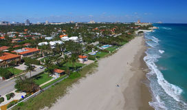 Water color of Palm Beach, aerial view of Florida Royalty Free Stock Photo