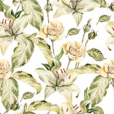 Water color pattern with flowers lilies, roses Stock Photo