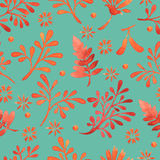 Water color pattern on plain turquoise background. stock images