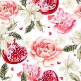 Water color pattern with pomegranates and flowers of peony and hibiscus vector illustration
