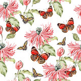 Water color pattern with poppy flowers and butterflies. Royalty Free Stock Photo