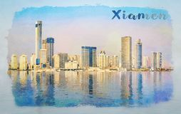Water color of skyline of the city of Xiamen with reflections royalty free stock images