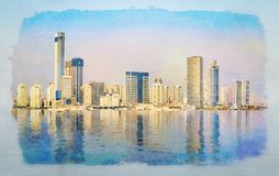 Water color of skyline of the city of Xiamen with reflections stock photo