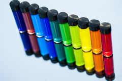 Water Color in small Glass Vials Royalty Free Stock Photo