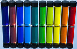 Water Color in small Glass Vials Stock Photography