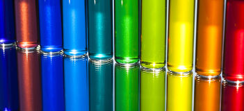Water Color in small Glass Vials Royalty Free Stock Images